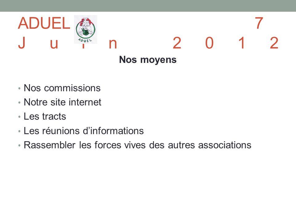 Nos moyens Nos commissions Notre site internet Les tracts Les réunions dinformations Rassembler les forces vives des autres associations ADUEL7 Juin 2012