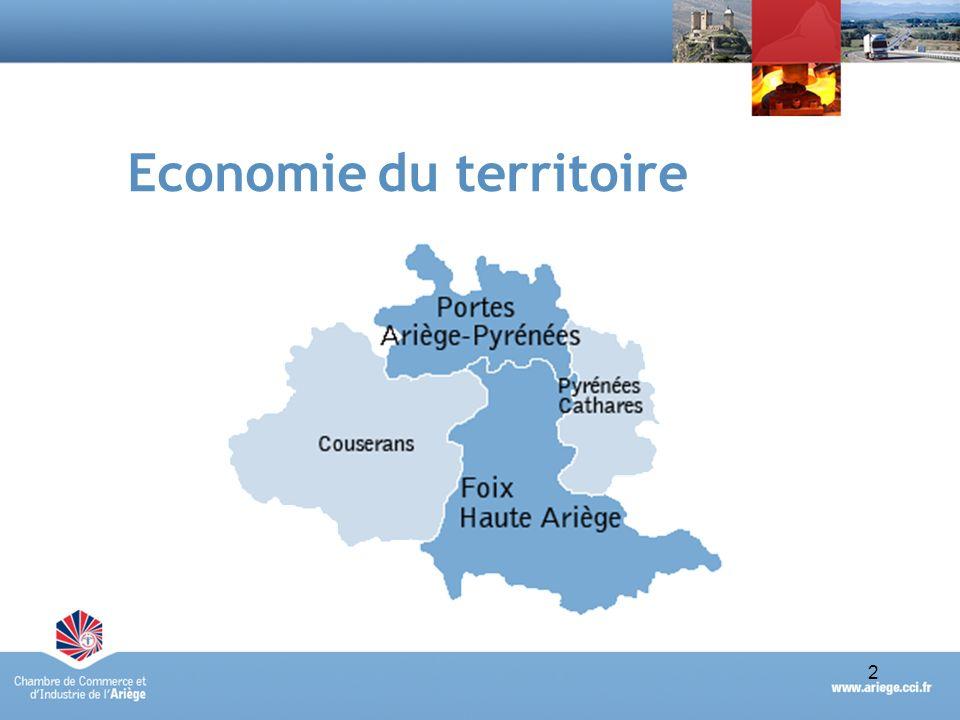 Portraits économiques synthétiques des Pays des Portes dAriège-Pyrénées et de Foix-Haute-Ariège - avril 20103 Une majorité des établissements et des effectifs de lAriège Territoires Nbre étsPoidsEffectifsPoids Foix Haute Ariège1 47228 %6 49930 % Portes Ariège Pyrénées1 67932 %7 94837 % Fx Hte Ariège et Portes Ariège3 15160 %14 44767 % Ariège5 154100 %21 178100 % Source : fichier RCS de la CCI de lAriège – établissements actifs au 31/12/2009 5154 établissements et 21 178 salariés en Ariège (données RCS) Foix Haute Ariège et Portes Ariège Pyrénées : 60% des établissements ariégeois et 67% des effectifs de lAriège un poids comparable du tissu économique de ces deux territoires, avec des effectifs plus nombreux sur la basse Ariège