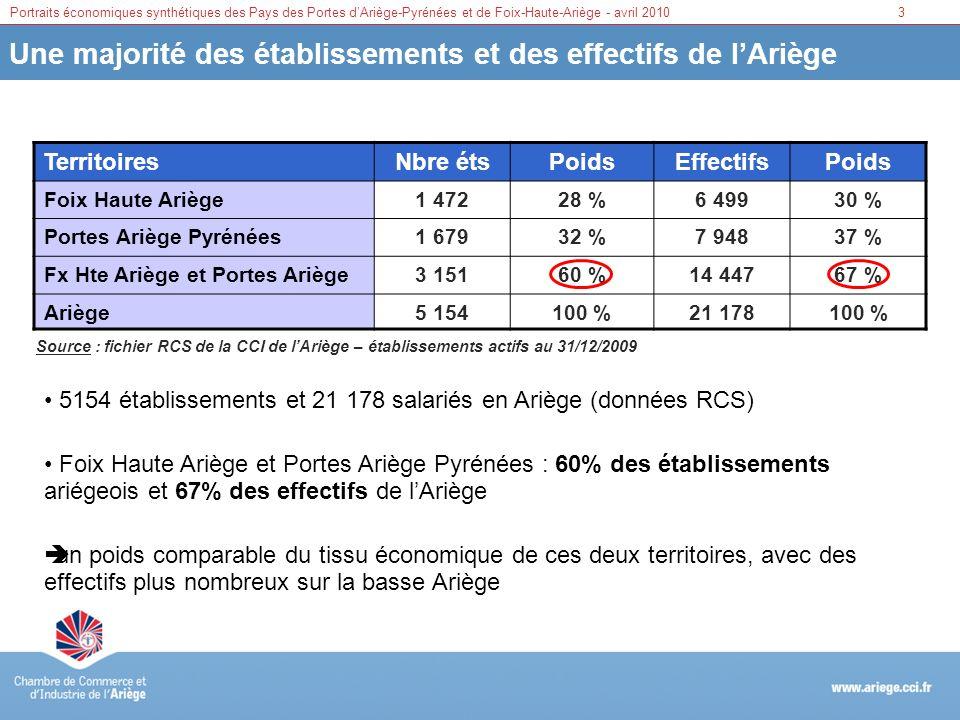 Portraits économiques synthétiques des Pays des Portes dAriège-Pyrénées et de Foix-Haute-Ariège - avril 20103 Une majorité des établissements et des e