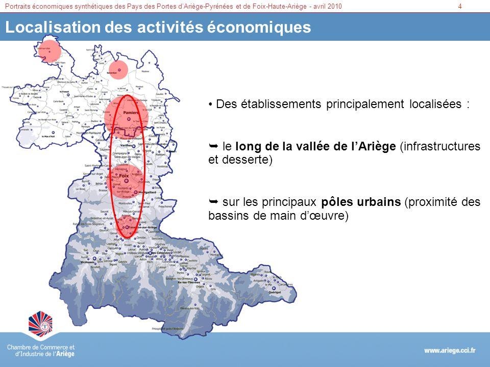Portraits économiques synthétiques des Pays des Portes dAriège-Pyrénées et de Foix-Haute-Ariège - avril 20105 Une économie tertiaire Source : fichier RCS de la CCI de lAriège – établissements actifs au 31/12/2009 Une part importante des secteurs du commerce et des services (75% pour FHA et 74% pour PAP), et une part plus faible de lindustrie et de la construction Secteurs dactivités Foix Haute Ariège Portes Ariège Pyrénées FHA et PAPAriège Part secteurs Poids en Ariège Part secteurs Industrie14,515 5815,5 Construction10,511 6210,5 Commerce2935326033 Services4639426341 Total100 60100 FHA : une sur-représentativité des services (préfecture et activités touristiques) PAP : un secteur du commerce proportionnellement plus développé (présence de pôles commerciaux majeurs)