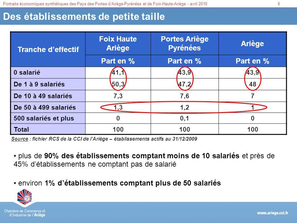 Portraits économiques synthétiques des Pays des Portes dAriège-Pyrénées et de Foix-Haute-Ariège - avril 20106 Des établissements de petite taille Tran