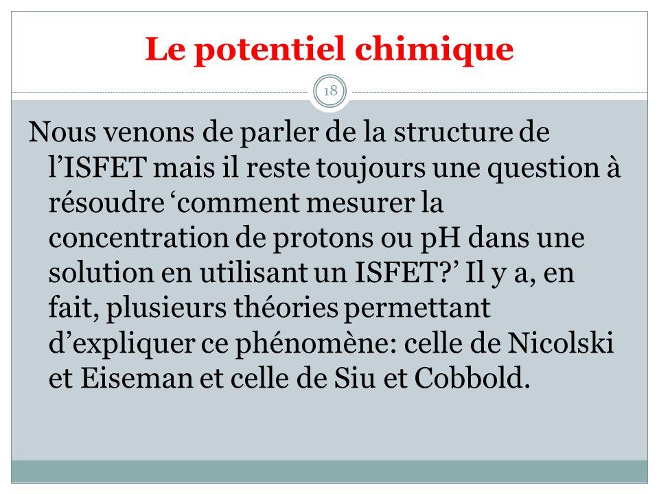 Le potentiel chimique 18 Nous venons de parler de la structure de lISFET mais il reste toujours une question à résoudre comment mesurer la concentration de protons ou pH dans une solution en utilisant un ISFET.