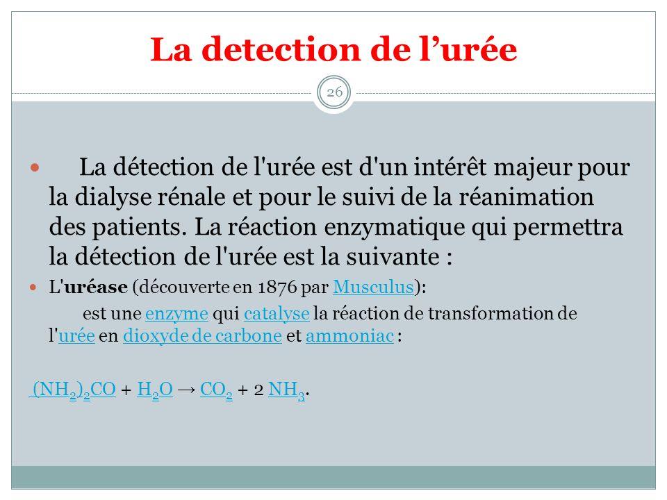 La detection de lurée 26 La détection de l'urée est d'un intérêt majeur pour la dialyse rénale et pour le suivi de la réanimation des patients. La réa