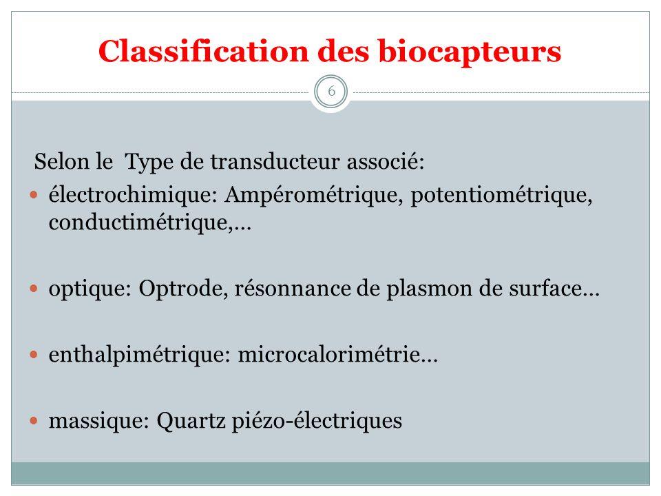 Classification des biocapteurs 6 Selon le Type de transducteur associé: électrochimique: Ampérométrique, potentiométrique, conductimétrique,… optique: Optrode, résonnance de plasmon de surface… enthalpimétrique: microcalorimétrie… massique: Quartz piézo-électriques