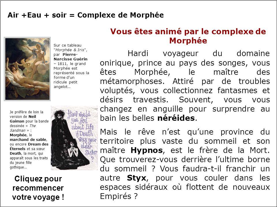 Vous êtes animé par le complexe de Morphée Hardi voyageur du domaine onirique, prince au pays des songes, vous êtes Morphée, le maître des métamorphoses.