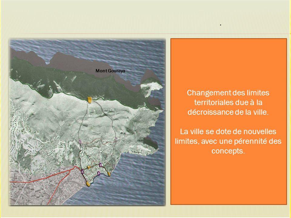 Mont Gouraya. Changement des limites territoriales due à la décroissance de la ville. La ville se dote de nouvelles limites, avec une pérennité des co