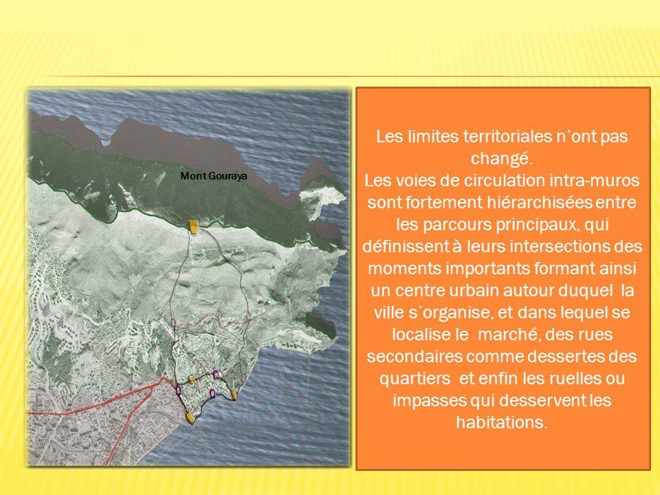 Les limites territoriales nont pas changé. Les voies de circulation intra-muros sont fortement hiérarchisées entre les parcours principaux, qui défini