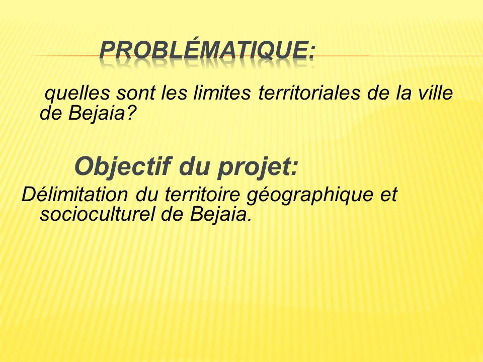 quelles sont les limites territoriales de la ville de Bejaia? Objectif du projet: Délimitation du territoire géographique et socioculturel de Bejaia.