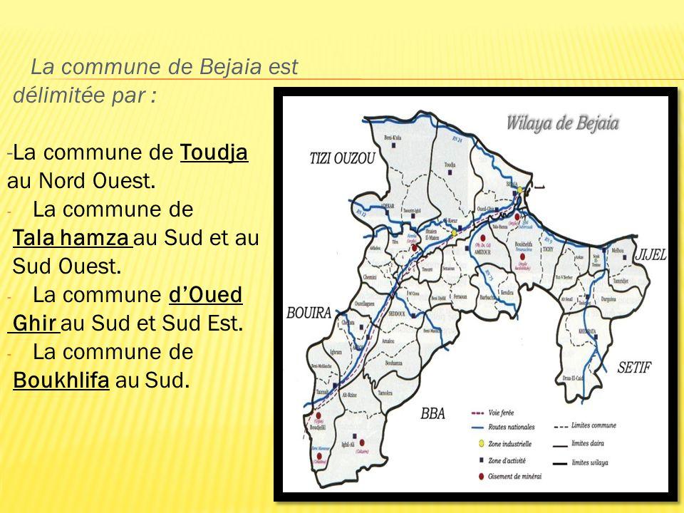La commune de Bejaia est délimitée par : -La commune de Toudja au Nord Ouest. - La commune de Tala hamza au Sud et au Sud Ouest. - La commune dOued Gh