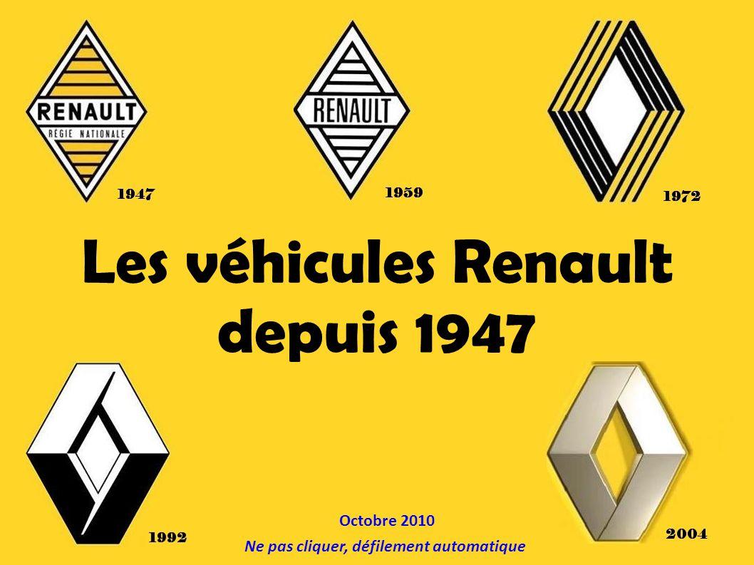 Les véhicules Renault depuis 1947 Ne pas cliquer, défilement automatique Octobre 2010