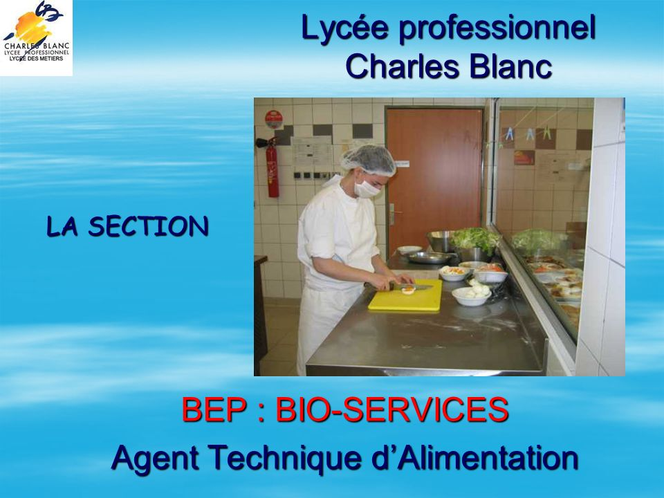 Lycée professionnel Charles Blanc BEP : BIO-SERVICES Agent Technique dAlimentation LA SECTION