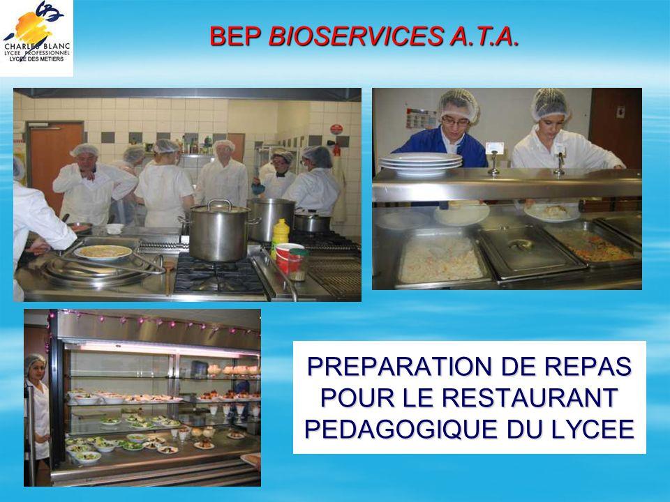 PREPARATION DE REPAS POUR LE RESTAURANT PEDAGOGIQUE DU LYCEE BEP BIOSERVICES A.T.A.