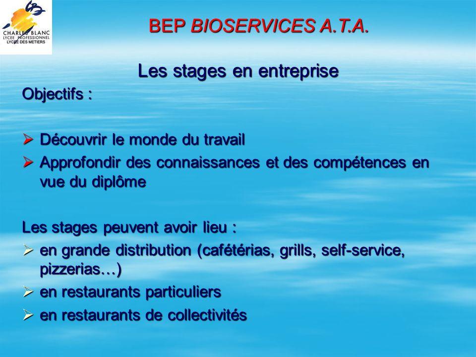 Un exemple: stage en cuisine collective au restaurant dentreprise de LA POSTE BEP BIOSERVICES A.T.A.