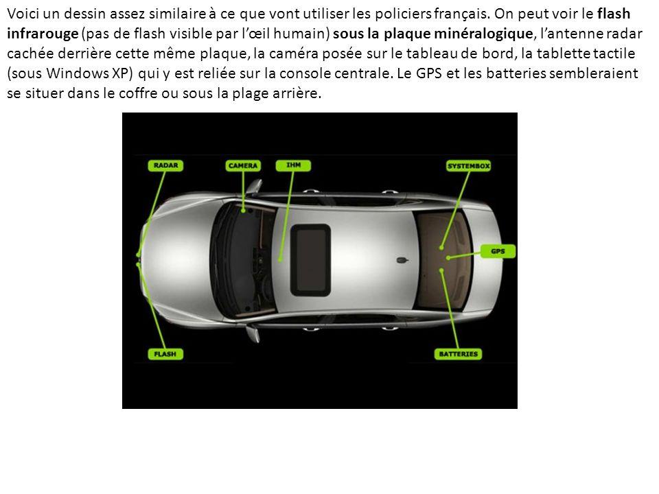 Voici un dessin assez similaire à ce que vont utiliser les policiers français. On peut voir le flash infrarouge (pas de flash visible par lœil humain)