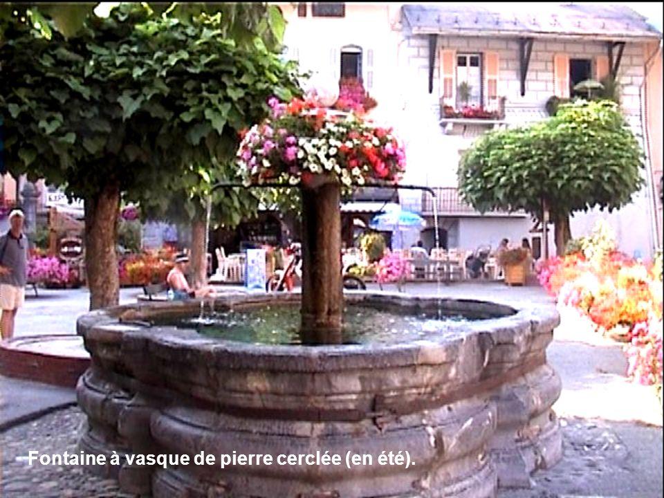 Fontaine à vasque de pierre cerclée (en été).