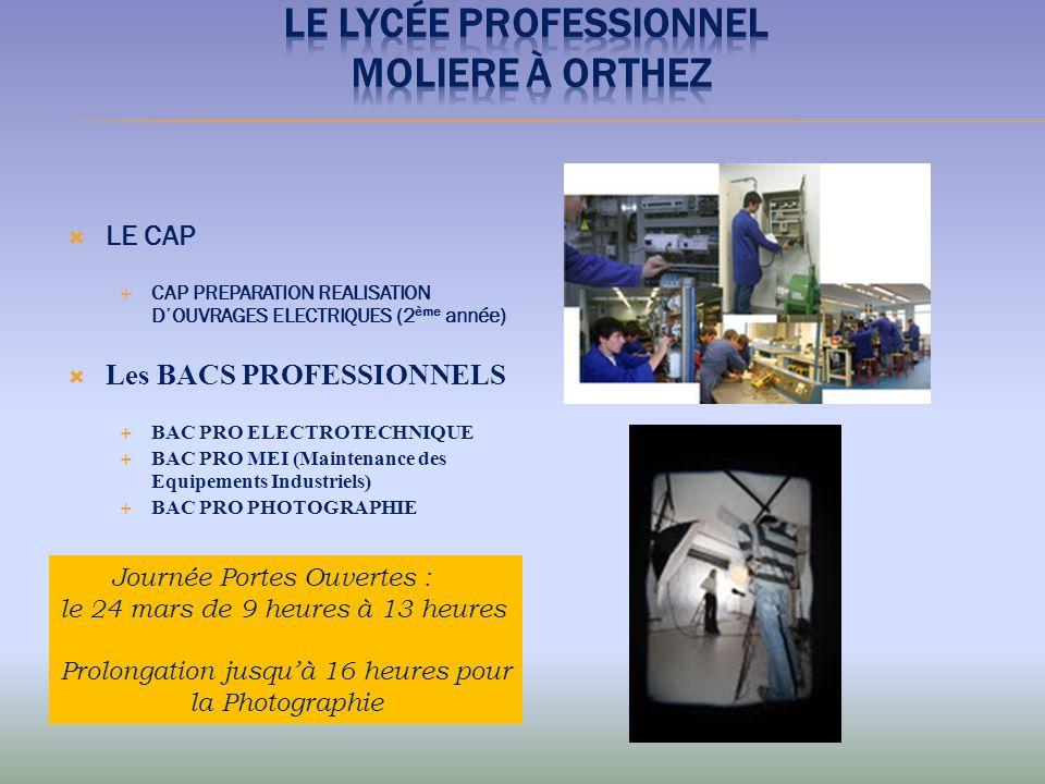 LE CAP CAP PREPARATION REALISATION DOUVRAGES ELECTRIQUES (2 ème année) Les BACS PROFESSIONNELS BAC PRO ELECTROTECHNIQUE BAC PRO MEI (Maintenance des E