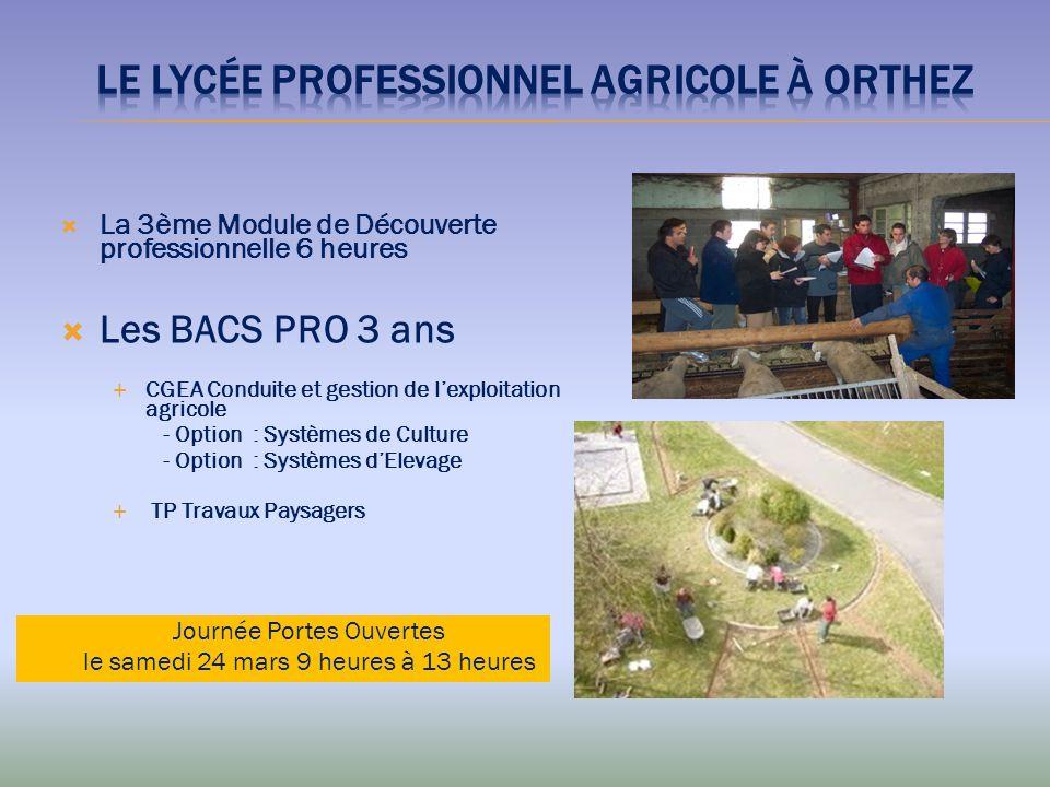 La 3ème Module de Découverte professionnelle 6 heures Les BACS PRO 3 ans CGEA Conduite et gestion de lexploitation agricole - Option : Systèmes de Cul
