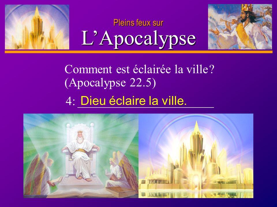D anie l Pleins feux sur 10 LApocalypse Pleins feux sur Comment est éclairée la ville ? (Apocalypse 22.5) 4: ______________________ Dieu éclaire la vi
