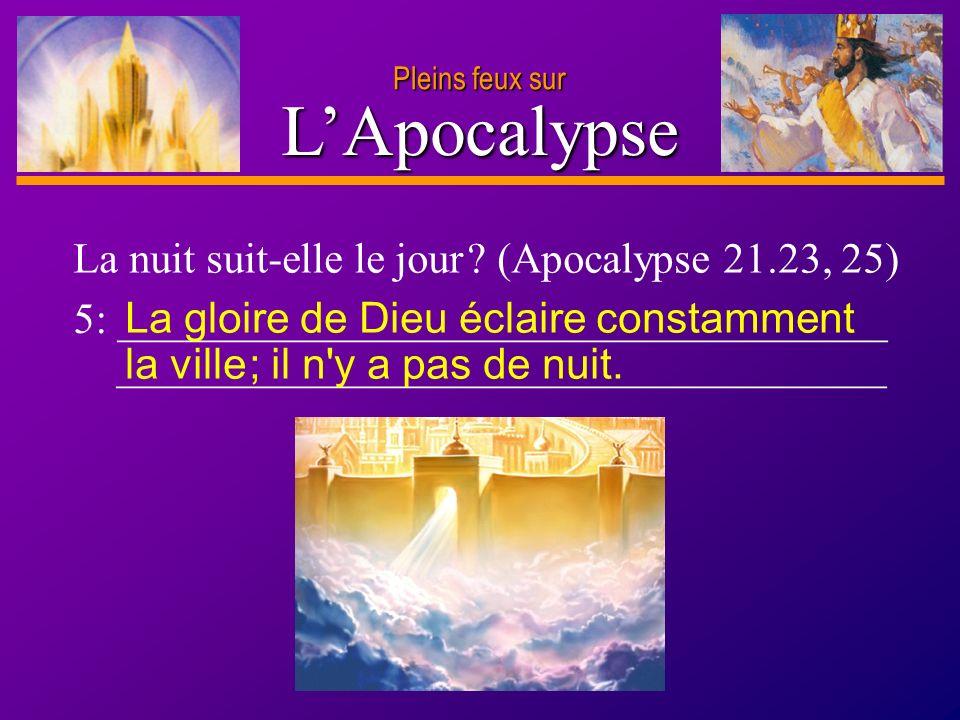D anie l Pleins feux sur 11 LApocalypse Pleins feux sur La nuit suit-elle le jour ? (Apocalypse 21.23, 25) 5: ____________________________________ ___