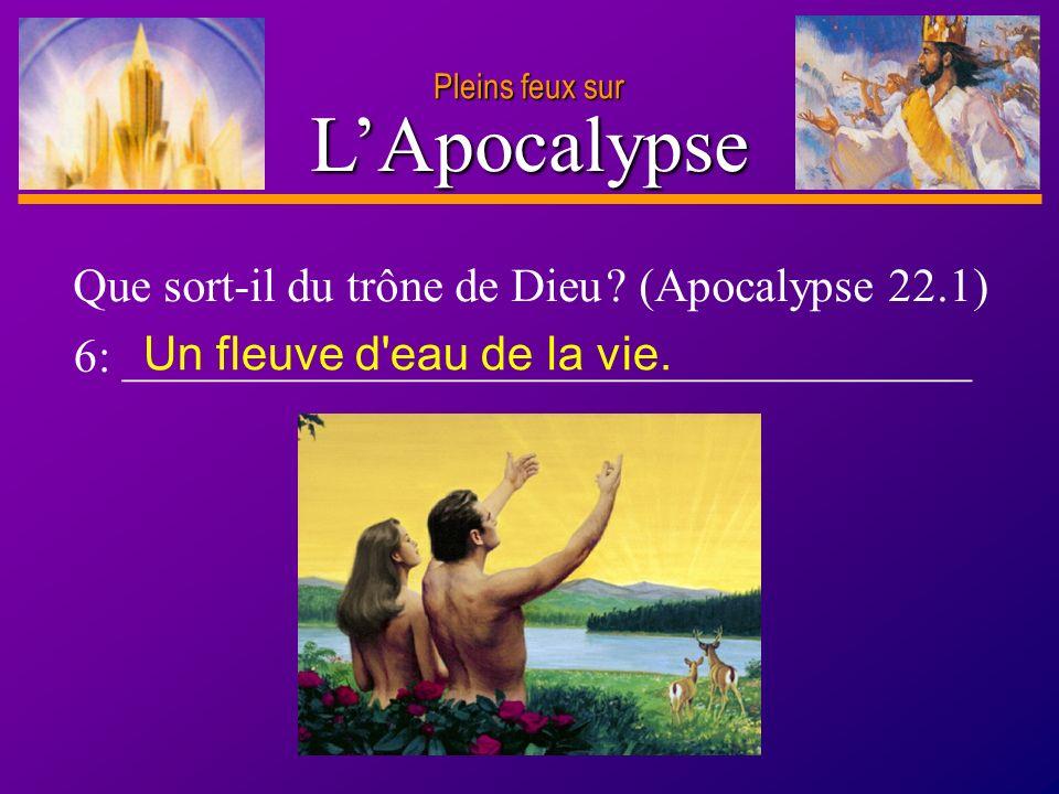 D anie l Pleins feux sur 12 Que sort-il du trône de Dieu ? (Apocalypse 22.1) 6: ____________________________________ Un fleuve d'eau de la vie.LApocal