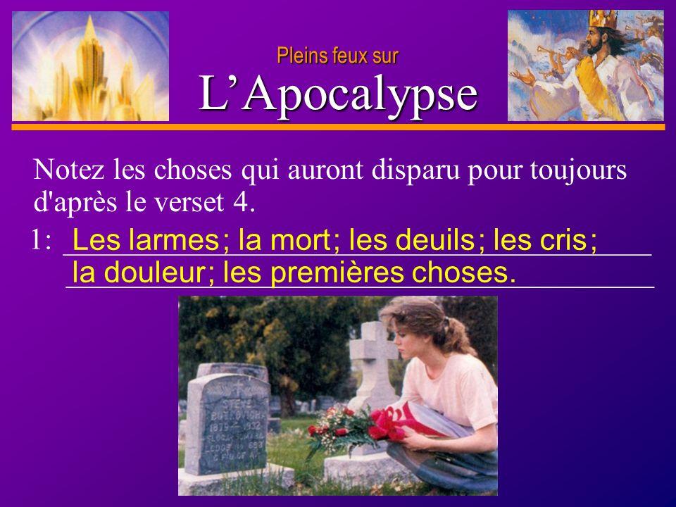 D anie l Pleins feux sur 15 LApocalypse Pleins feux sur Lisez Apocalypse 21.7,8,27 ; 22.11,14-16.