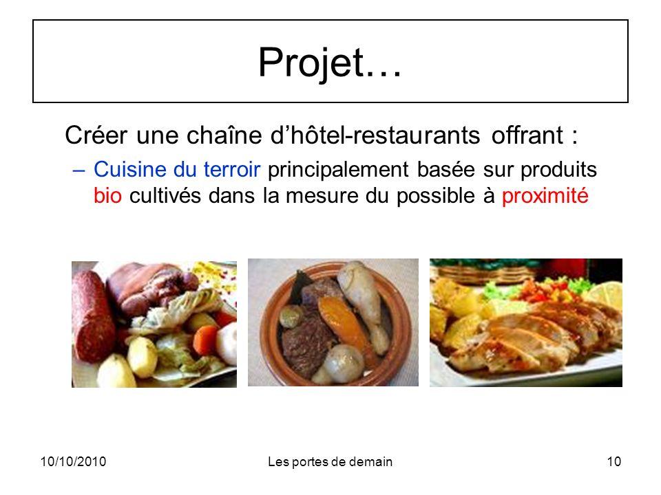 10/10/2010Les portes de demain10 Projet… Créer une chaîne dhôtel-restaurants offrant : –Cuisine du terroir principalement basée sur produits bio cultivés dans la mesure du possible à proximité