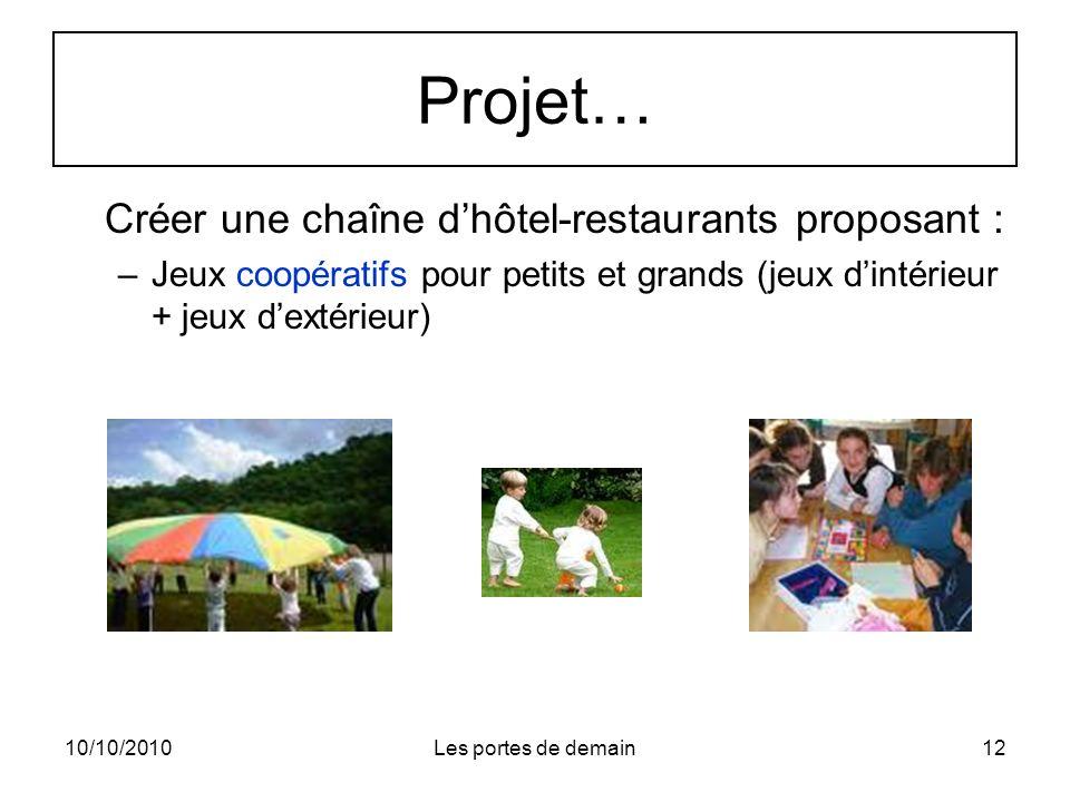 10/10/2010Les portes de demain12 Projet… Créer une chaîne dhôtel-restaurants proposant : –Jeux coopératifs pour petits et grands (jeux dintérieur + jeux dextérieur)