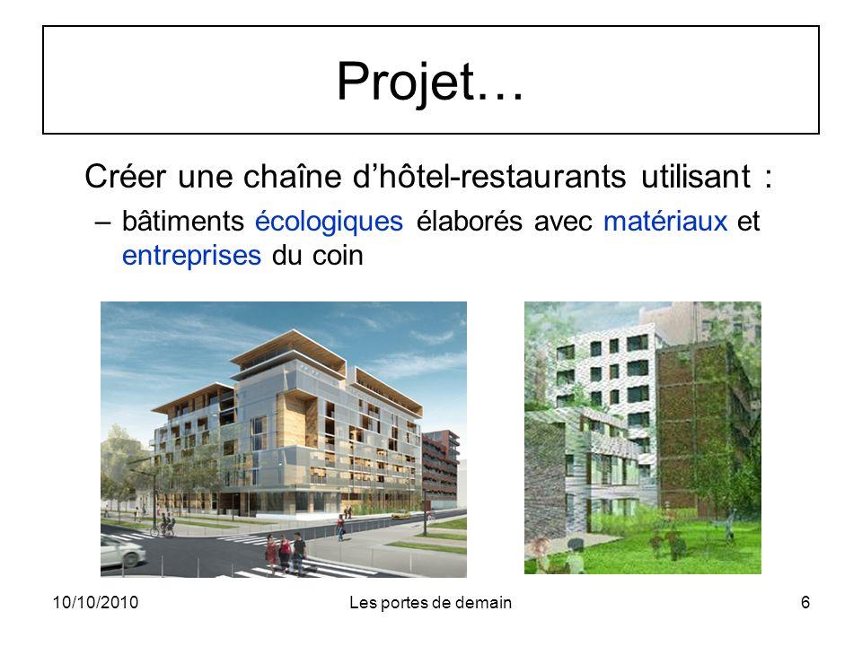 10/10/2010Les portes de demain6 Projet… Créer une chaîne dhôtel-restaurants utilisant : –bâtiments écologiques élaborés avec matériaux et entreprises du coin