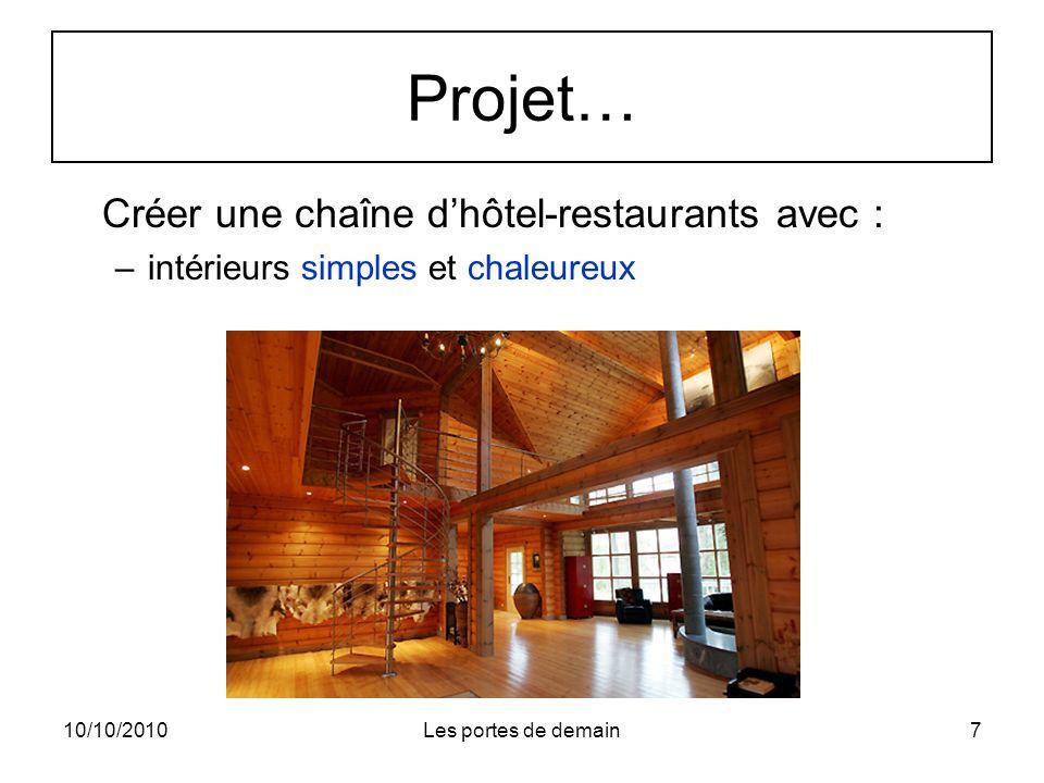 10/10/2010Les portes de demain8 Projet… Créer une chaîne dhôtel-restaurants offrant : –Jardins permettant dêtre en contact avec la nature