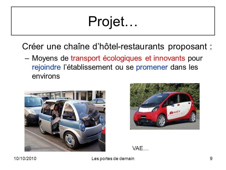10/10/2010Les portes de demain9 Projet… Créer une chaîne dhôtel-restaurants proposant : –Moyens de transport écologiques et innovants pour rejoindre létablissement ou se promener dans les environs VAE…
