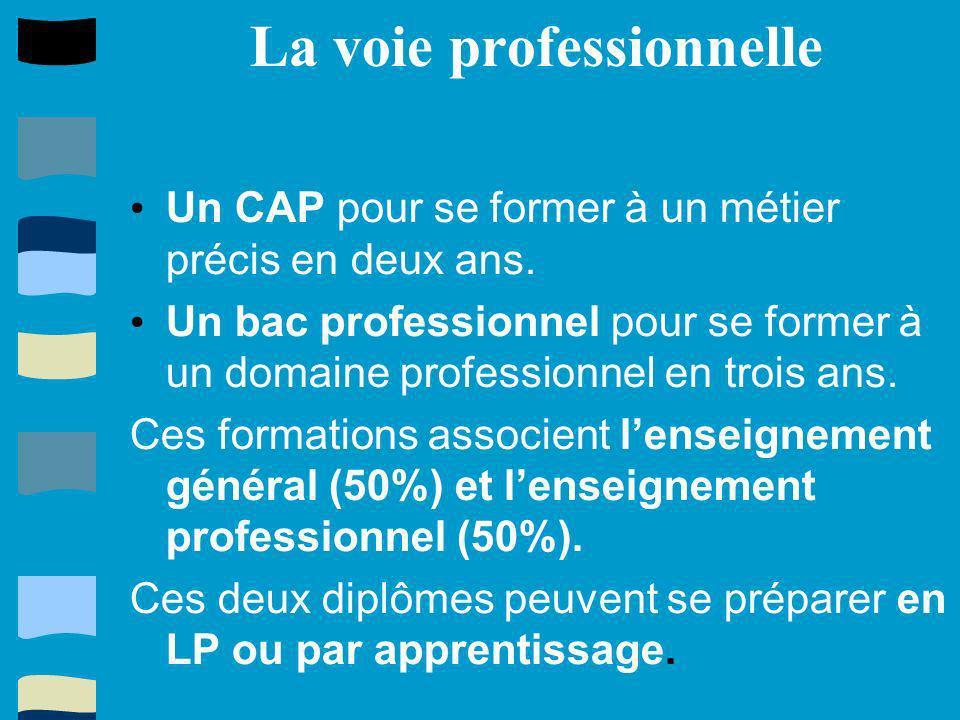La voie professionnelle Un CAP pour se former à un métier précis en deux ans. Un bac professionnel pour se former à un domaine professionnel en trois
