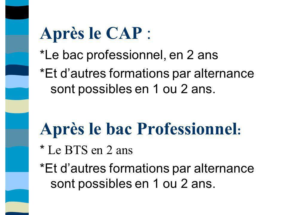 Après le CAP : *Le bac professionnel, en 2 ans *Et dautres formations par alternance sont possibles en 1 ou 2 ans. Après le bac Professionnel : * Le B