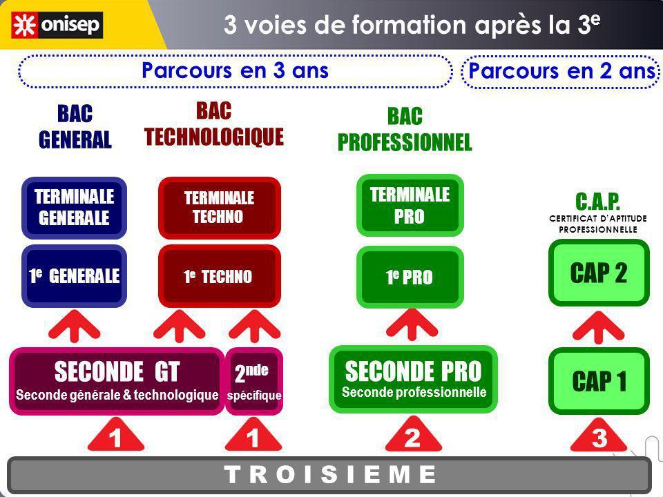 SECONDE PRO Seconde professionnelle T R O I S I E M E SECONDE GT Seconde générale & technologique 1 e PRO TERMINALE PRO CAP 1 CAP 2 1 2 3 BAC GENERAL