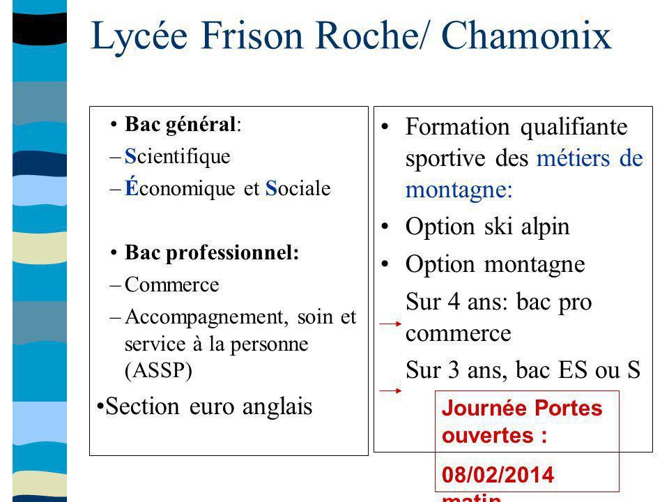 Lycée Frison Roche/ Chamonix Formation qualifiante sportive des métiers de montagne: Option ski alpin Option montagne Sur 4 ans: bac pro commerce Sur