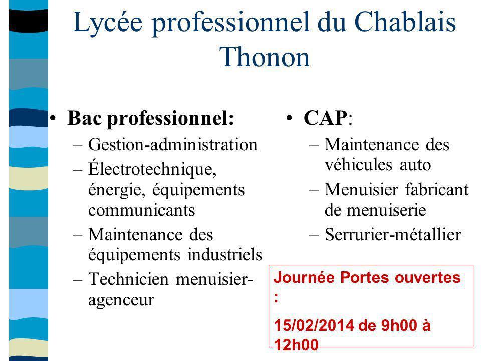 Lycée professionnel du Chablais Thonon Bac professionnel: –Gestion-administration –Électrotechnique, énergie, équipements communicants –Maintenance de