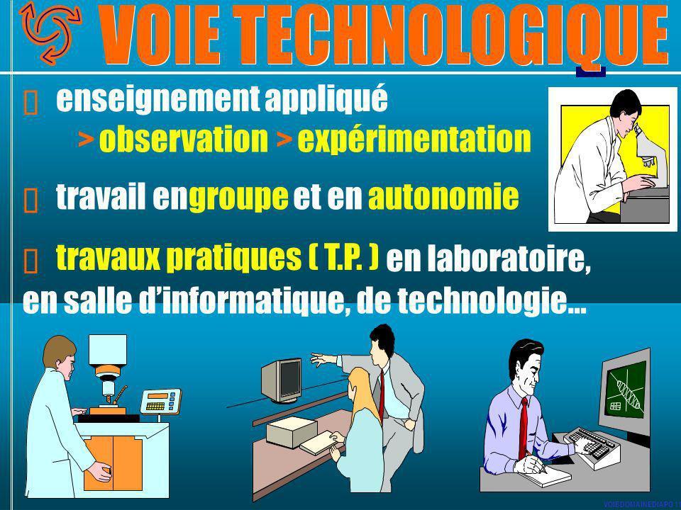 enseignement appliqué > observation > expérimentation travail en groupe et en autonomie travaux pratiques ( T.P. ) en laboratoire, en salle dinformati