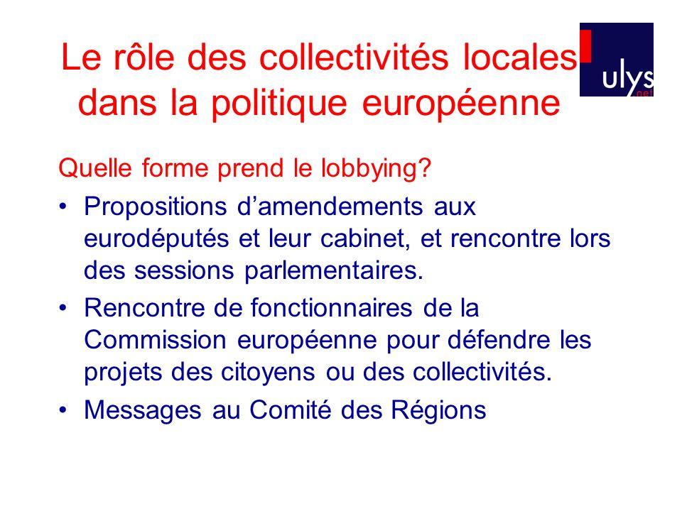 Le rôle des collectivités locales dans la politique européenne Quelle forme prend le lobbying? Propositions damendements aux eurodéputés et leur cabin