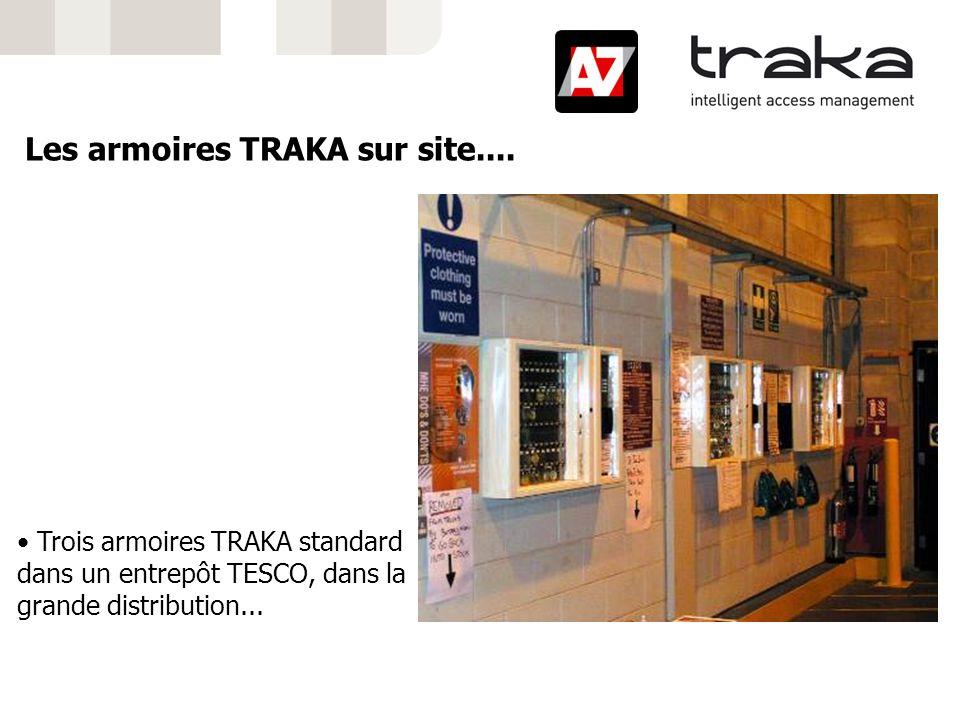 Les armoires TRAKA sur site.... Trois armoires TRAKA standard dans un entrepôt TESCO, dans la grande distribution...