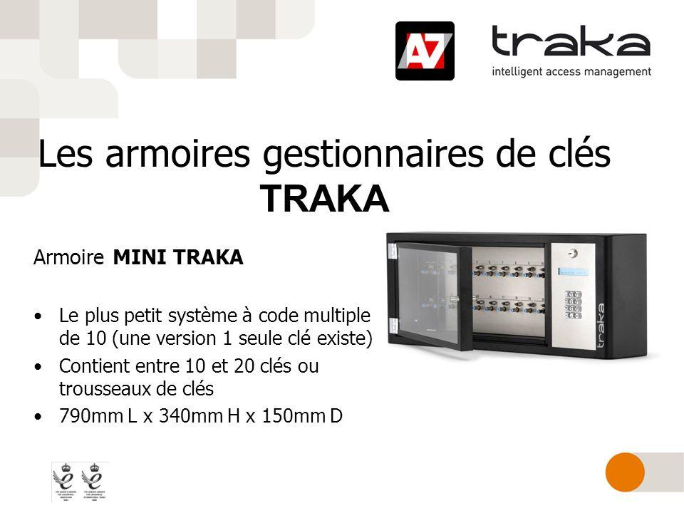 Les armoires gestionnaires de clés TRAKA Armoire MINI TRAKA Le plus petit système à code multiple de 10 (une version 1 seule clé existe) Contient entr