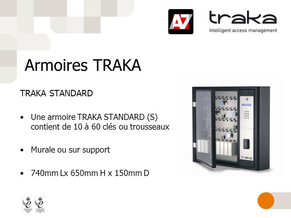 Armoires TRAKA Armoire TRAKA GRAND FORMAT Larmoire TRAKA Grand Format contient de 10 à 180 trousseaux de clés, voire 360 avec nos racks HD, haute densité Option pupitre déporté 815mm Lx 1905mm H x 150mm D