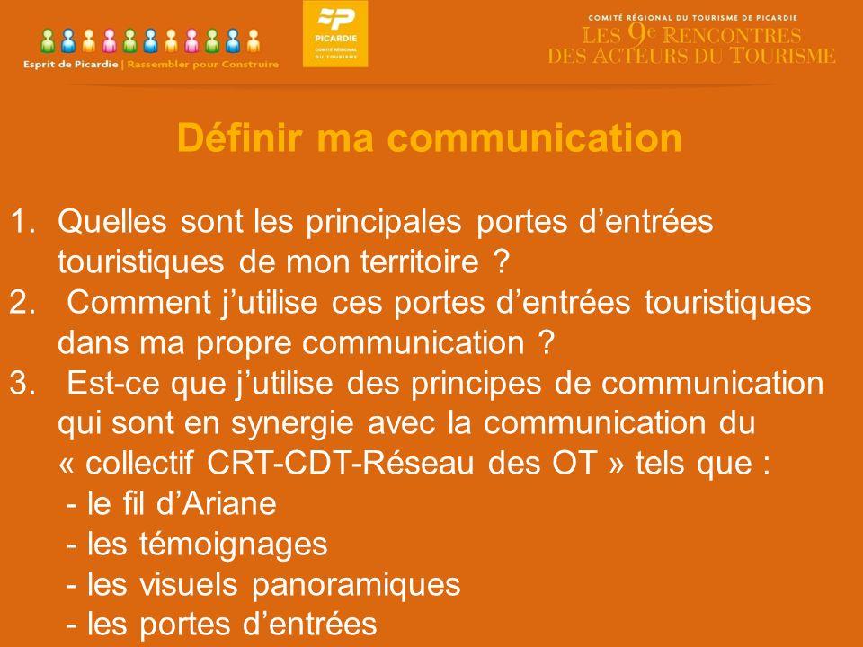 Définir ma communication 1.Quelles sont les principales portes dentrées touristiques de mon territoire .