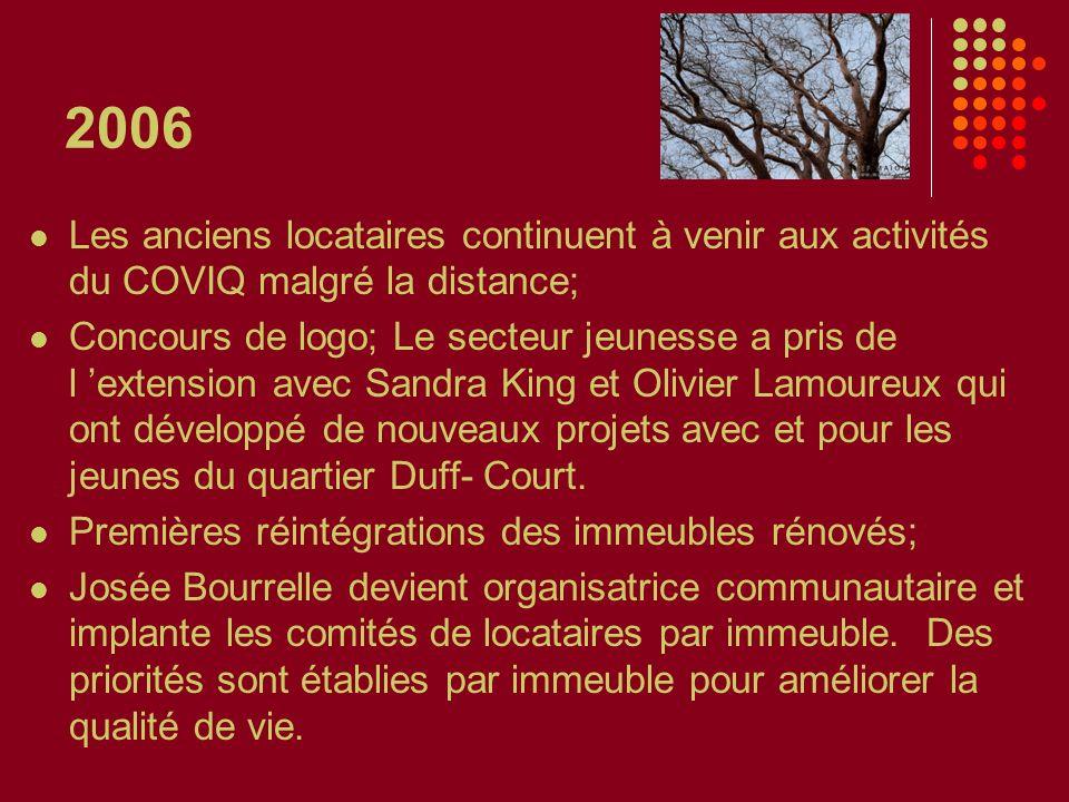 2006 Les anciens locataires continuent à venir aux activités du COVIQ malgré la distance; Concours de logo; Le secteur jeunesse a pris de l extension