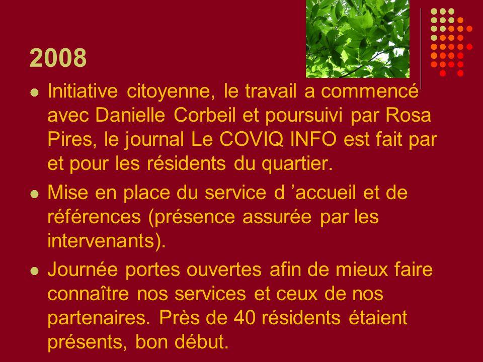 2008 Initiative citoyenne, le travail a commencé avec Danielle Corbeil et poursuivi par Rosa Pires, le journal Le COVIQ INFO est fait par et pour les