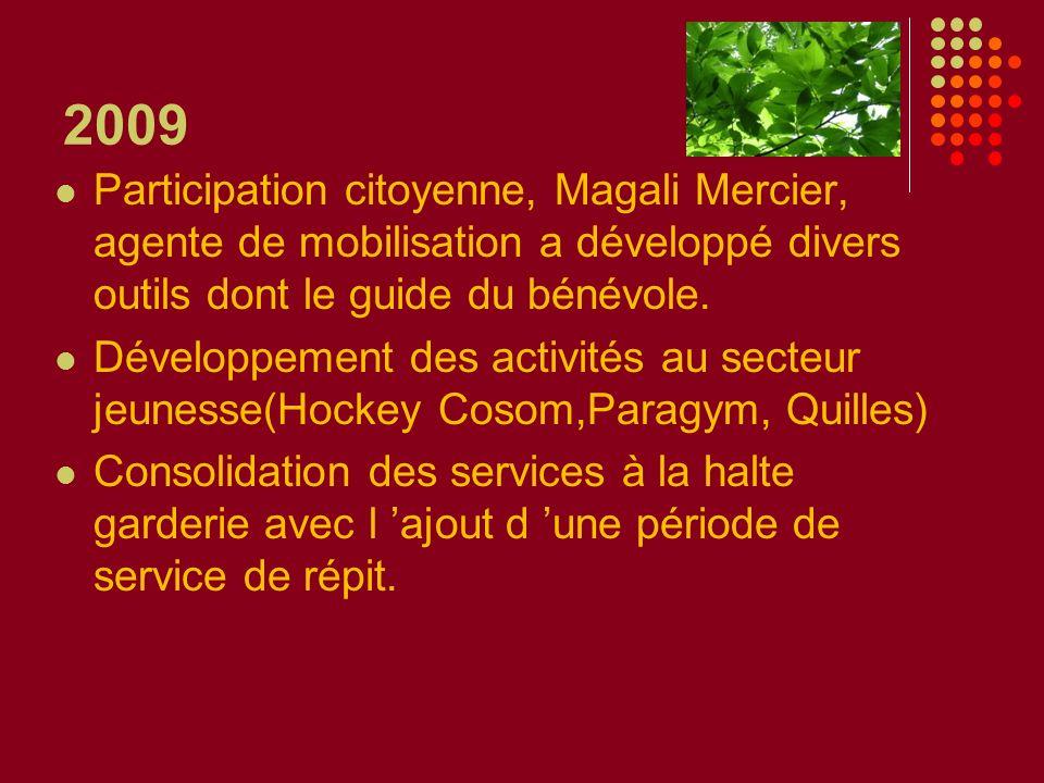2009 Participation citoyenne, Magali Mercier, agente de mobilisation a développé divers outils dont le guide du bénévole. Développement des activités