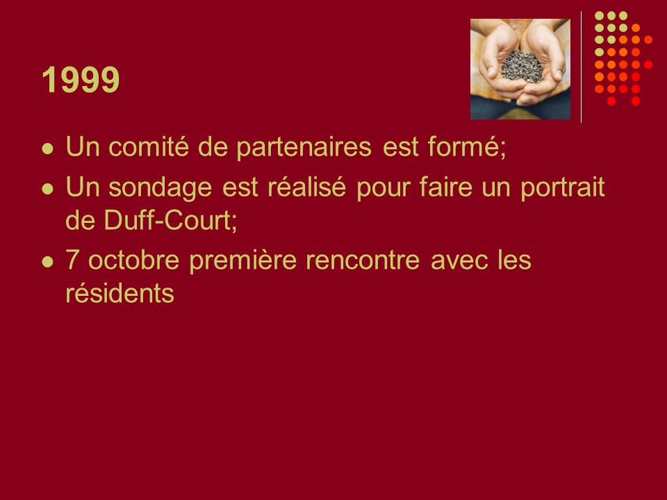 1999 Un comité de partenaires est formé; Un sondage est réalisé pour faire un portrait de Duff-Court; 7 octobre première rencontre avec les résidents