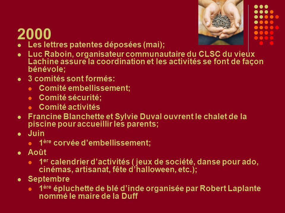 2000 Les lettres patentes déposées (mai); Luc Raboin, organisateur communautaire du CLSC du vieux Lachine assure la coordination et les activités se f