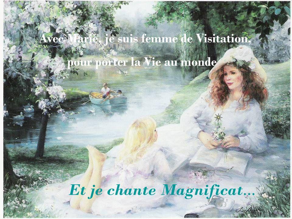 Marie, tu es Femme de Visitation. Marie dun geste tendre, touche le ventre dÉlizabeth qui lui sourit. Lenfant tressaillit à ce contact et semblait vou