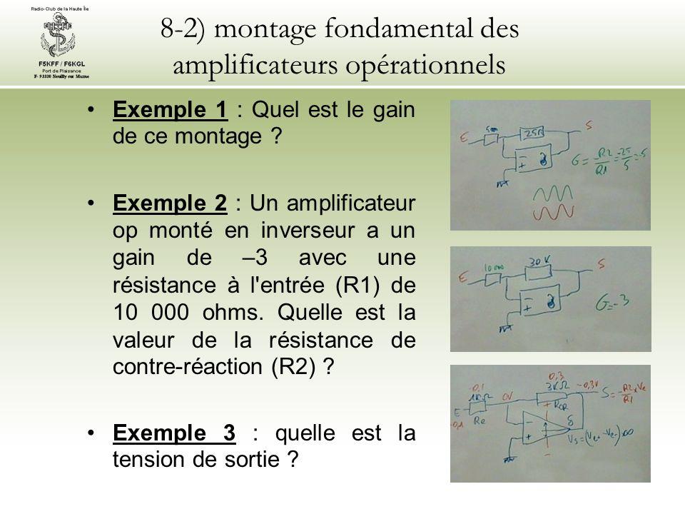 8-3) autres montages des amplificateurs opérationnels Seul le montage inverseur (voir § 8-2) est au programme de lexamen de classe 2.