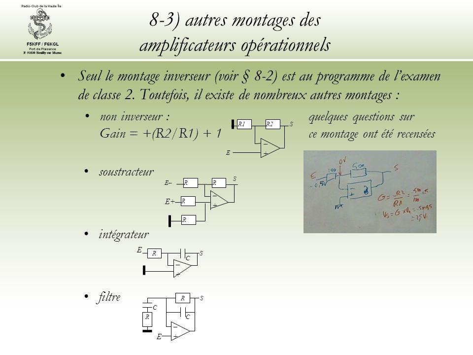 8-3) autres montages des amplificateurs opérationnels Seul le montage inverseur (voir § 8-2) est au programme de lexamen de classe 2. Toutefois, il ex
