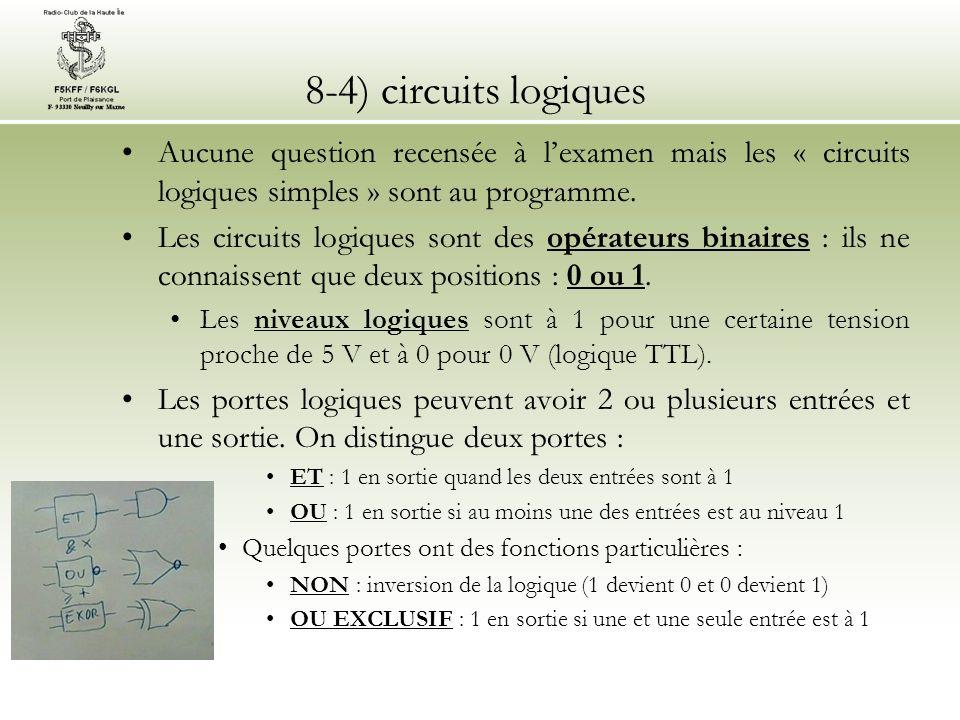 8-4) circuits logiques Aucune question recensée à lexamen mais les « circuits logiques simples » sont au programme. Les circuits logiques sont des opé